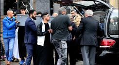 The remains of Azzam Raguragui (18) who was stabbed to death in Dundrum are taken from the Irish Cultural Centre of Ireland for burial. Pic Steve Humphreys 17th May 2019