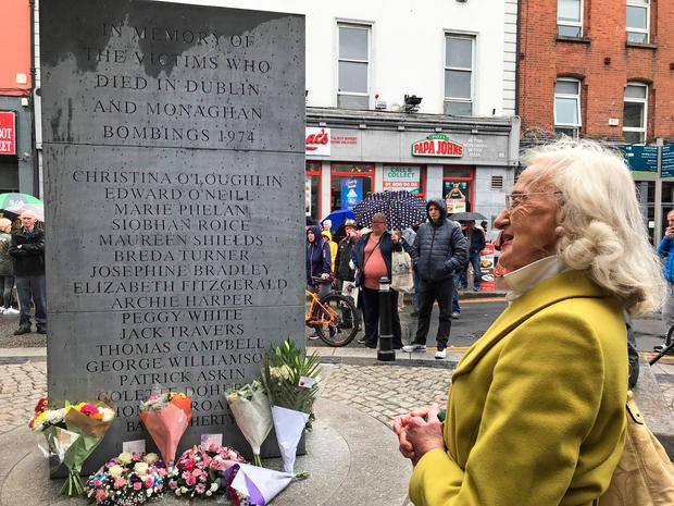 Maeve Taylor, 92, a survivor of the Dublin Monaghan bombings at a commemoration in Dublin on Friday to mark the 45th anniversary of the bombings. Photo: Michelle Devane/PA Wire