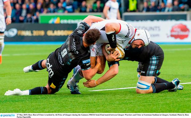 Rory Best of Ulster is tackled by Ali Price of Glasgow during the Guinness PRO14 Semi-Final match between Glasgow Warriors and Ulster at Scotstoun Stadium in Glasgow, Scotland. Photo by Ross Parker/Sportsfile