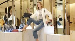 Bag a bargain: Model Joanne Northey at Brown Thomas, for the launch of the Vestiaire Collective pop-up running until tomorrow