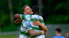Daniel Carr of Shamrock Rovers celebrates with Lee Grace, left, after scoring his side's first goal of the game during the SSE Airtricity League Premier Division match between UCD and Shamrock Rovers at UCD Bowl in Dublin. Photo by Ramsey Cardy/Sportsfile