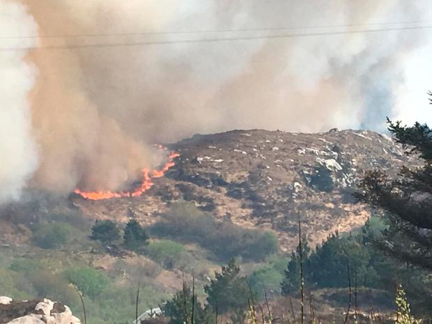 A view of the gorse fire in Co Donegal. Photo: Evelyn Sweeney/PA Wire
