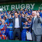 On the road: Leo Varadkar meets students from Scoil Chaitríona with Maria and Michael Walsh. Photo: Tommy Dickson