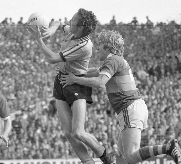 Flying Star: Anton O'Toole of Dublin gets to the ball ahead of Kerry's Jimmy Deenihan in Croke Park. Photo: Independent Newspapers Ireland