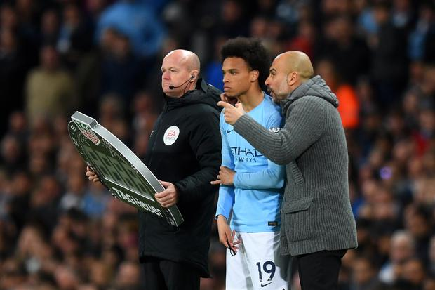 Exit door: Leroy Sane could well move on this summer after becoming frustrated by his lack of playing time this season. Photo: Getty