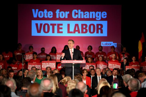 Australian Opposition Leader Bill Shorten delivers a speech during the 'Vote for Change Rally' at Bowman Hall in Blacktown, Sydney AAP Image/Lukas Coch/via REUTERS