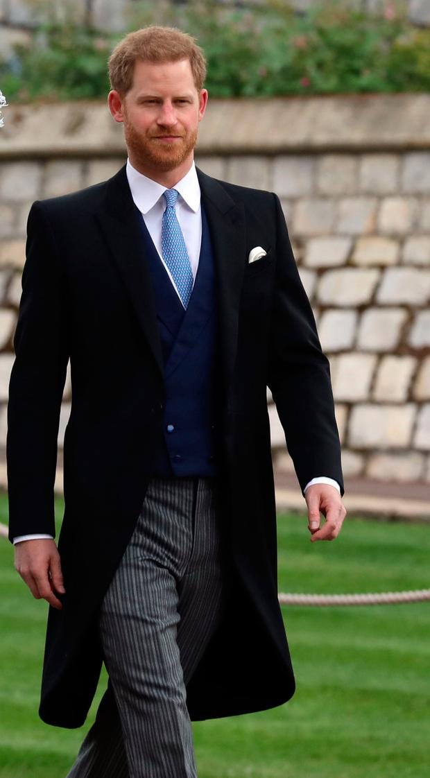 Britain's Prince Harry arrives ahead of the wedding of Lady Gabriella Windsor and Thomas Kingston at St George's Chapel in Windsor Castle. Photo: Steve Parsons/PA Wire