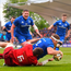 18 May 2019; Seán Cronin of Leinster dives over to score his side's first try despite the tackle of Peter O'Mahony of Munster during the Guinness PRO14 semi-final match between Leinster and Munster at the RDS Arena in Dublin. Photo by Ramsey Cardy/Sportsfile
