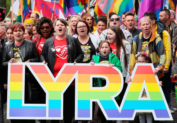 Sara Canning (front centre left), partner of murdered journalist Lyra McKee, marching with protesters through Belfast city centre demanding same sex marriage in Northern Ireland. Photo: Brian Lawless/PA Wire
