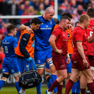 Devin Toner of Leinster leaves the field injured