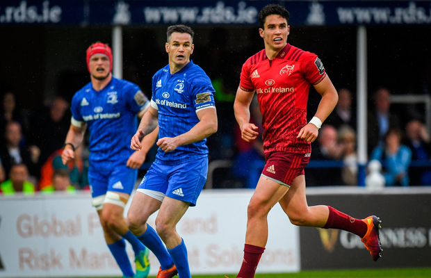 Joey Carbery of Munster and Jonathan Sexton of Leinster