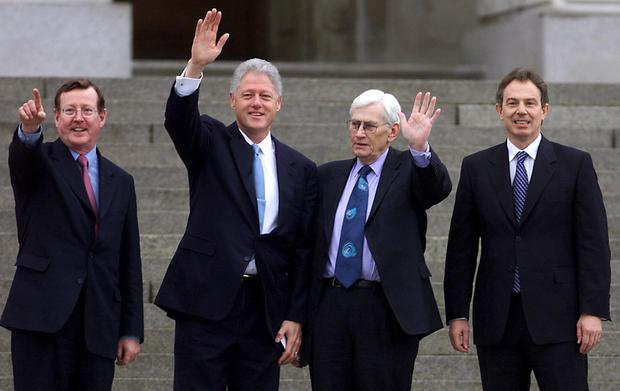 Northern Ireland deputy First Minister Seamus Mallon at Stormont during the visit of then US president Bill Clinton in December 2000 with then British PM Tony Blair