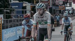 Irish road race champion Conor Dunne finishes Stage 8 of the Giro D'Italia in Pesaro today