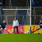 Martin Reilly of Cavan scores his side's first goal from a penalty during the Ulster GAA Football Senior Championship quarter-final match between Cavan and Monaghan at Kingspan Breffni in Cavan. Photo by Daire Brennan/Sportsfile