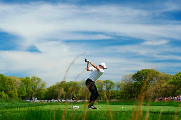 Rory McIlroy plays from the seventh tee during the third round of the US PGA Championship at Bethpage Black. Photo: Warren Little. Photo: Warren Little/Getty Images