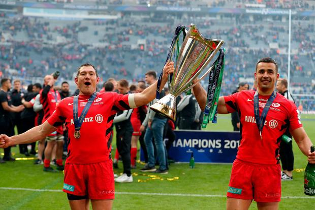 Alex Goode (l) and Saracens' Sean Maitland celebrate winning the Champions Cup. Photo: Richard Sellers/PA Wire