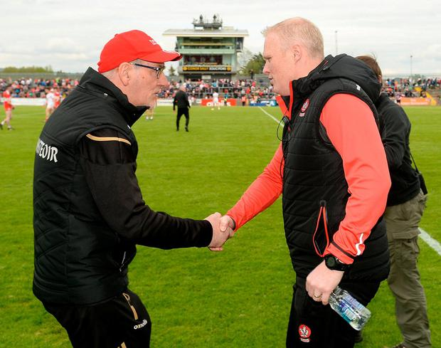Tyrone Manager Mickey Harte and Derry Manager Damian McErlain. Photo: Oliver McVeigh/Sportsfile