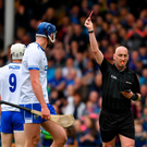 Conor Gleeson of Waterford, 9, receives a red card from referee John Keenan during the Munster GAA Hurling Senior Championship Round 2 match between Tipperary and Waterford at Semple Stadium. Photo by Ray McManus/Sportsfile