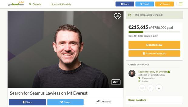 Seamus Lawless's family have launched a fundraising campaign to help finance a search operation on Everest (screengrab of GoFundMe page/PA)