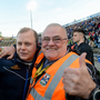 Cavan manager Mickey Graham celebrates his side's home victory against Monaghan with his father, Mickey Graham Snr. Photo: Sportsfile