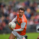 Armagh's Jamie Clarke takes on Gerard Collins of Down during their Ulster quarter-final. Photo: Sportsfile