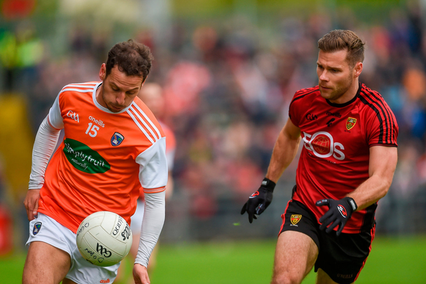 Jamie Clarke of Armagh in action against Gerard Collins of Down. Photo: Sportsfile