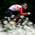 Team Lotto's Thomas De Gendt in action during yesterday's Giro d'Italia time trial. Photo: LUK BENIES/AFP/Getty Images