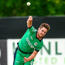 Mark Adair of Ireland bowls yesterday. Photo: Oliver McVeigh/Sportsfile