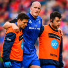 An injured Devin Toner is led from the field. Photo: Ramsey Cardy/Sportsfile