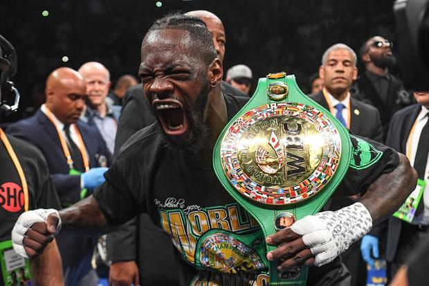 Deontay Wilder reacts after defeating Dominic Breazeale by technical knockout in the first round of their world heavyweight championship boxing match at Barclays Center in May. Photo: Sarah Stier-USA TODAY Sports