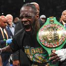 May 18, 2019; Brooklyn, NY, USA; Deontay Wilder reacts after defeating Dominic Breazeale by technical knockout in the first round of their world heavyweight championship boxing match at Barclays Center. Photo: Sarah Stier-USA TODAY Sports
