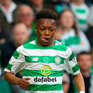 Karamoko Dembele of Celtic is faced by Conor Shaughnessy of Hearts. Photo: Ian MacNicol/Getty Images