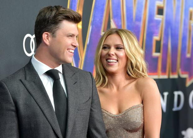 Colin Jost and Scarlett Johansson attend the world premiere of Walt Disney Studios Motion Pictures