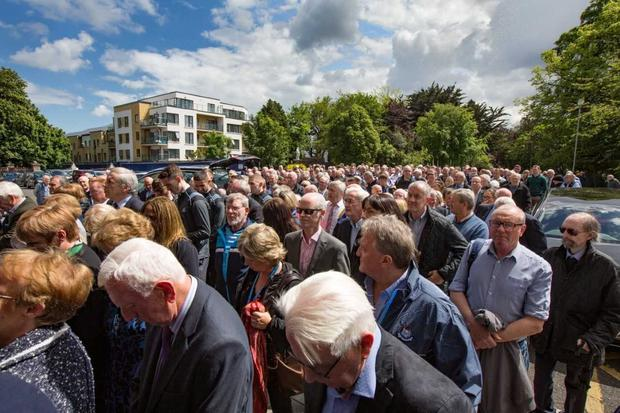 Mourners at the funeral of Dublin hero Anton O'Toole. Pic: Mark Condren