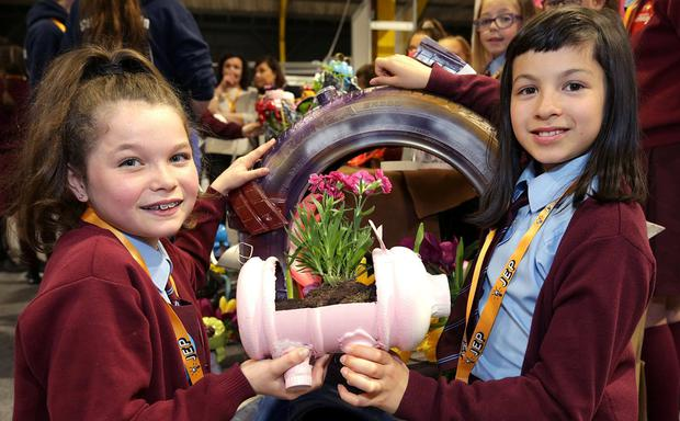 Garden theme: Alanna Martin (10, right) and Lauren Halligan (10), from St Brigid's NS, Killester, Dublin, with their project at the Junior Entrepreneur event at the RDS. Photo: Damien Eagers