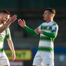 Dylan Watts of Shamrock Rovers celebrates Jack Byrne and Trevor Clarke after scoring his sides second goal during the SSE Airtricity League Premier Division match between Finn Harps v Shamrock Rovers at Finn Park in Ballybofey, Co.Donegal. Photo by Oliver McVeigh/Sportsfile