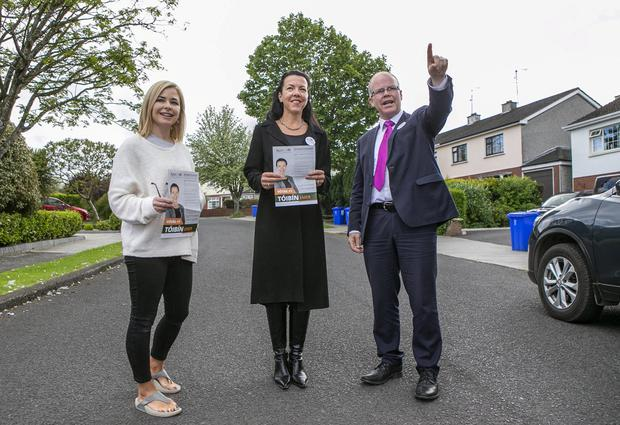 Point man: Navan local Louise Dunleavy with Emer Tóibín and her brother Peadar, canvassing for the local elections in Navan. Photo: Kyran O'Brien