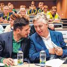 Top table: Then UEFA marketing manager and incoming FAI General Manager, Noel Mooney, talking to John Delaney (right) at the FAI Women's Football Convention in 2017. Photo: Stephen McCarthy/Sportsfile