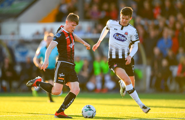 Ryan Swan of Bohemians (left) scores two goals in the win over Finn Harps