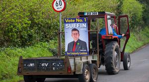It might be too early to put the election posters on lamp posts but Keith Suffin is getting his message out early as the Fine Gael local elections candidate goes about his daily business in Boyle, Co. Roscommon. Photo Brian Farrell