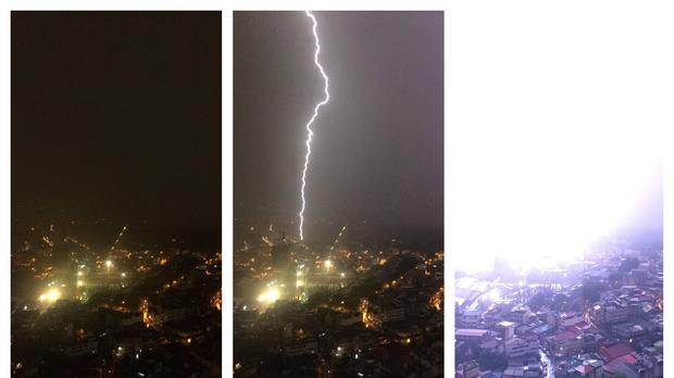 The photo shows lightning striking a building in the Philippines (Nathan Daniel Sison/PA)