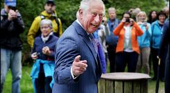 The Prince of Wales in a jovial mood as he visits a Monastic settlement at the Wicklow Mountains National Park at Glendalough. Pic: Steve Humphreys 21st May 2019