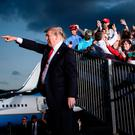 Pointed: Donald Trump leaves after a Make America Great Again rally at Williamsport Airport. Photo: BRENDAN SMIALOWSKI/AFP/Getty Images