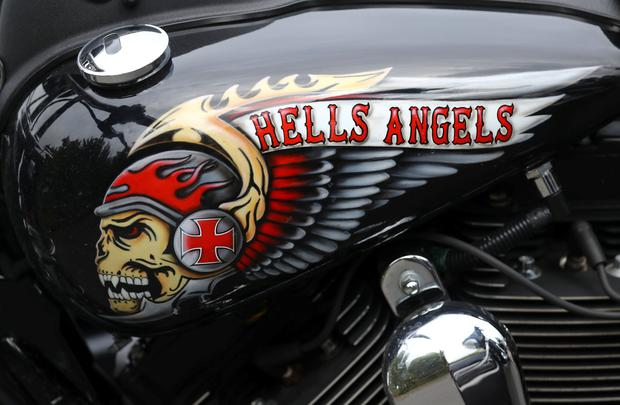 The decorated tank of a Harley Davidson motorbike, pictured at the funeral of a Hell Angels chapter president in Giessen, Germany in 2016. Photo: REUTERS/Kai Pfaffenbach/File Photo