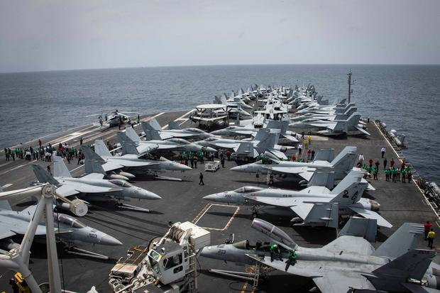 Poised: US aircraft carrier USS Abraham Lincoln has been sent to the Arabian Sea as tensions escalate with Iran. Photo: Garrett LaBarge/U.S. Navy/Handout via REUTERS
