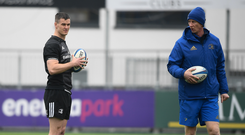 Jonathan Sexton, left, and head coach Leo Cullen. Photo by David Fitzgerald/Sportsfile