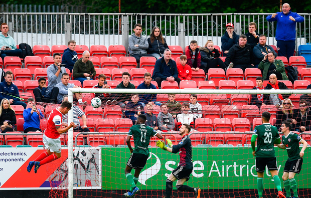 Kevin Toner of St Patrick's Athletic heads in the winning goal. Photo: Ramsey Cardy/Sportsfile