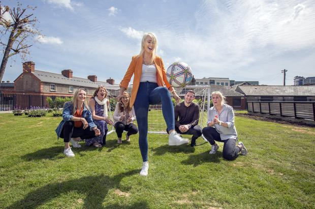Ireland soccer international Stephanie Roche shows off her silky football skills at #WomenInSport watched by Arsenal footballer Louise Quinn, Anne Kiely from Twitter, GAA player Rena Buckley, Dublin footballer Philly McMahon and rugby referee Joy Neville. Photo: Tony Gavin