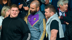 Scott Fardy (centre) wearing his Wexford tracksuit top in Parnell Park last Sunday with his Leinster team-mates Tadhg Furlong and Jack McGrath (right) for the hurling clash between Wexford and Dublin. Photo: Daire Brennan/Sportsfile