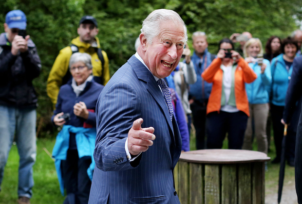 High spirits: Prince Charles in jovial mood as he visits a monastic settlement at the Wicklow Mountains National Park at Glendalough. Photo: Steve Humphreys